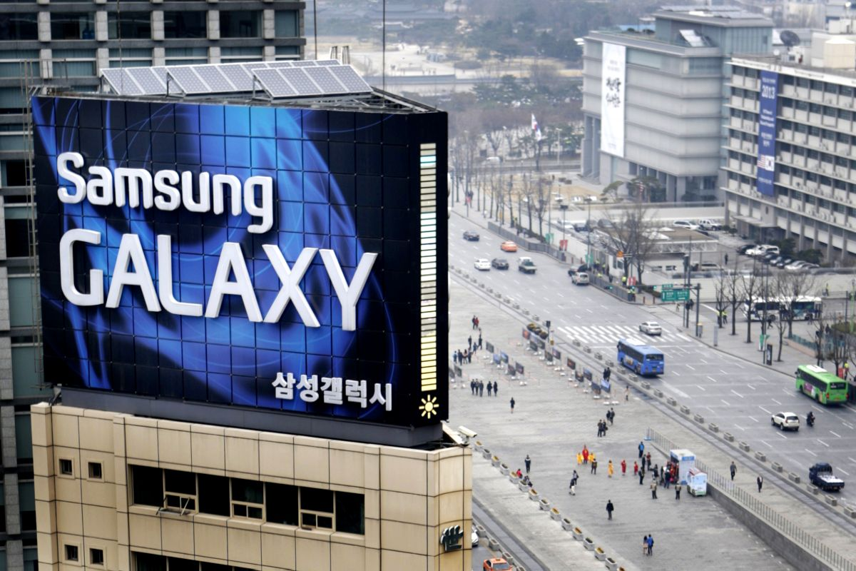 Samsung outdoor advertisment sits atop an office building in Seoul